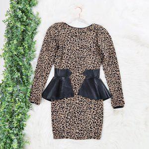 Dress the Population Leopard Leather Peplum Dress
